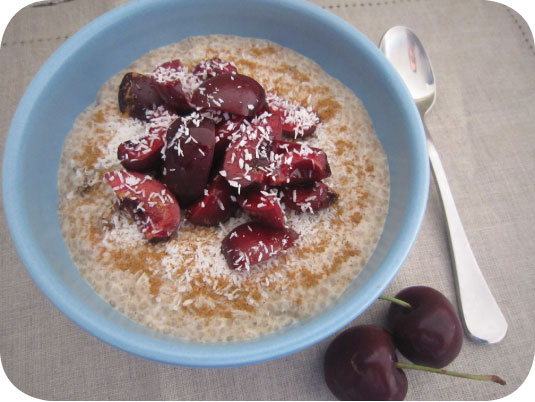 Chia pudding with cherries